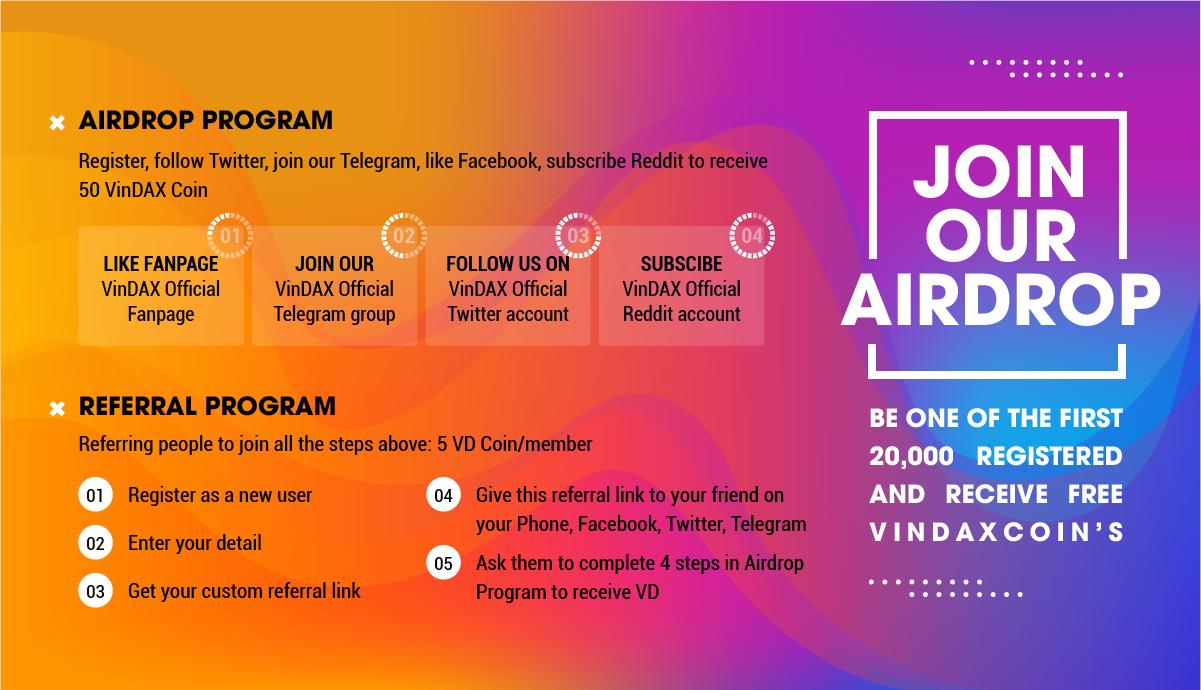 VinDAX Airdrop - Claim free 50 VN tokens + referral with