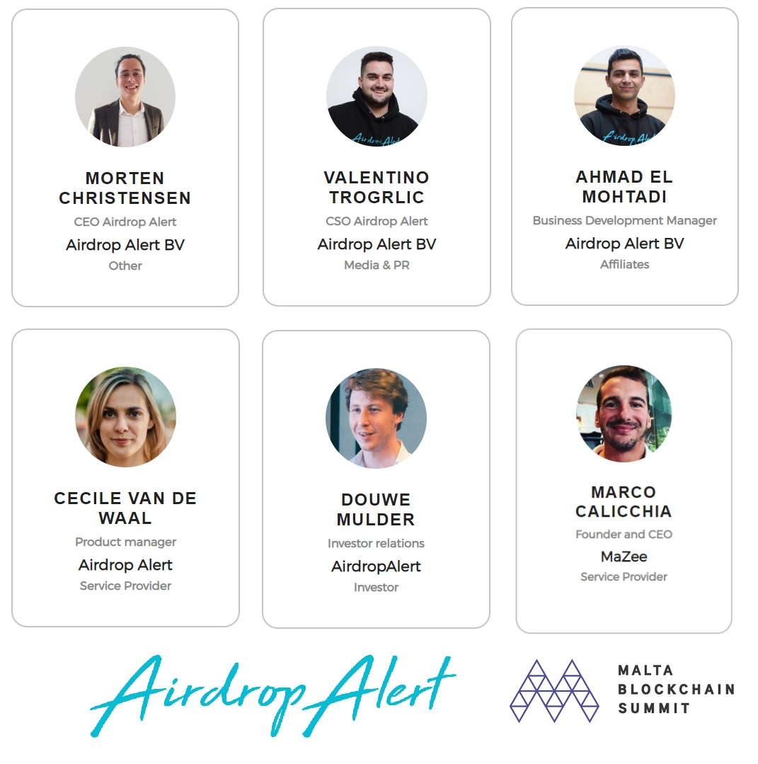 Team Airdrop Alert at Malta blockchain summit - Meet us there!