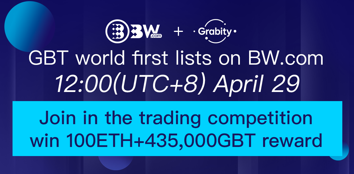 GBT listed on BW.com, Join in the Trading competition to win 100 ETH + 435,000 GBT