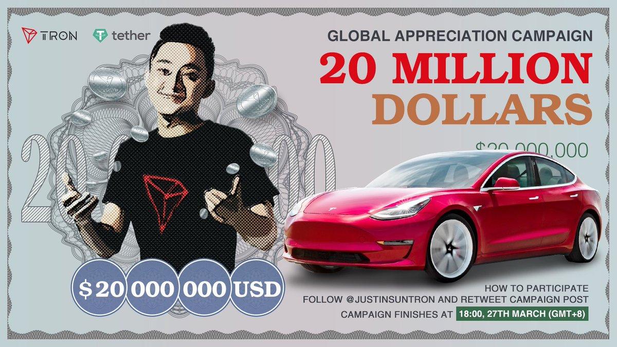 Justin Sun (Tron) $20m cash Airdrop & Tesla giveaway