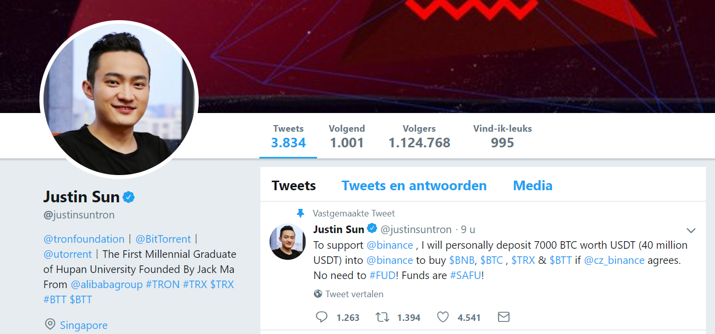 Justin Sun wants to support Binance after hack by giving them 7000 BTC