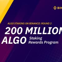 Binance Will Support An Additional 200 Million ALGO Staking Rewards Program