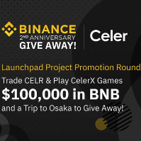 Binance Celer BNB GiveAway - $100,000 in BNB tokens & a trip to Osaka GiveAway