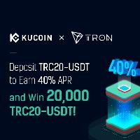 KuCoin and TRON teamed up  - Earn 40% APR & win 20,000 TRC-USDT