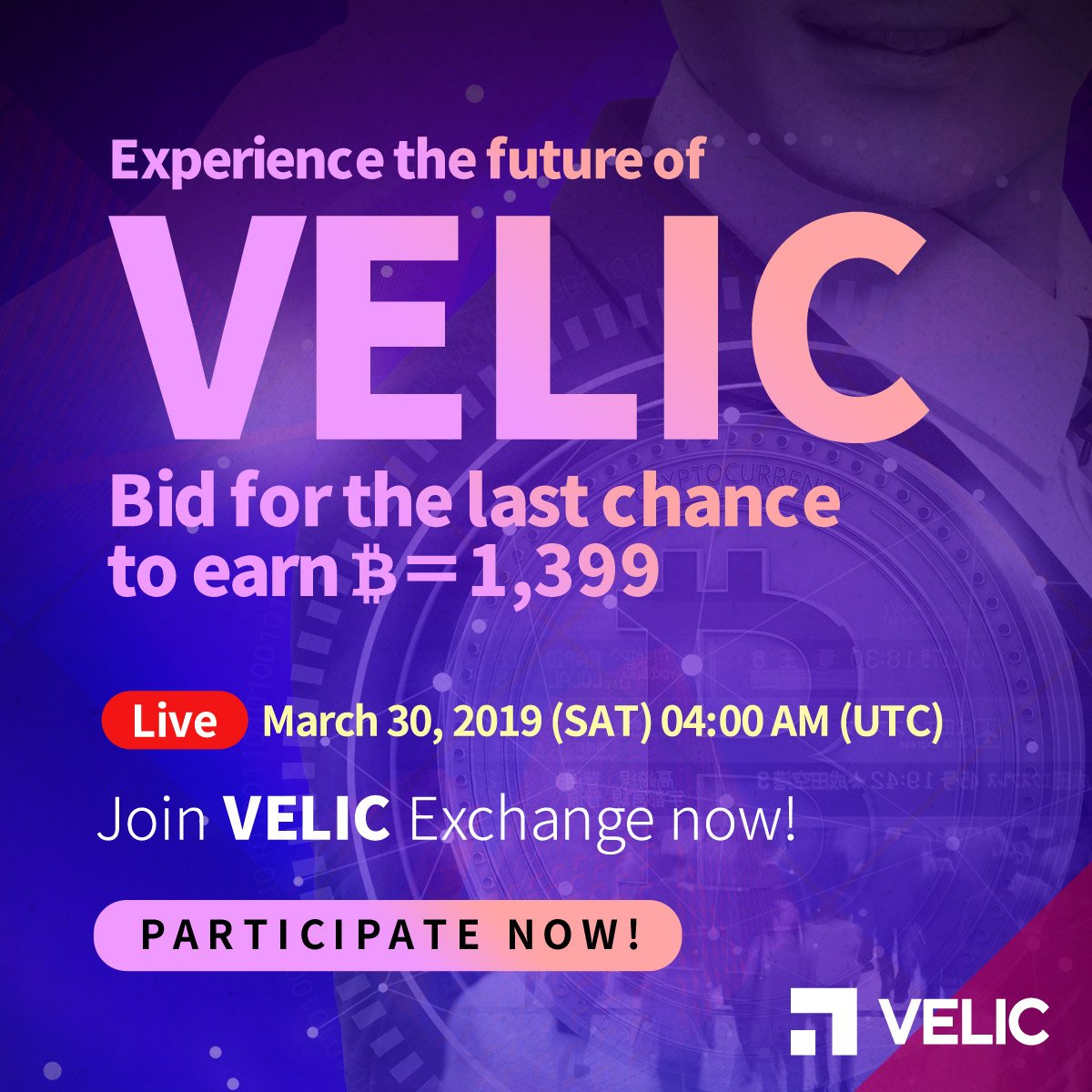 VELIC is auctioning off BTC at its 2017 price!